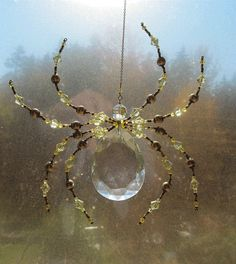 Beaded Vintage Crystal Spider - Impressive Spider Sculpture -Green Dark harbor Sun Catcher by Spidertown on Etsy