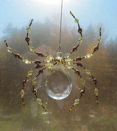 Beaded Vintage Crystal Spider - Impressive Spider Sculpture -Green Dark harbor Sun Catcher by Spidertown on Etsy