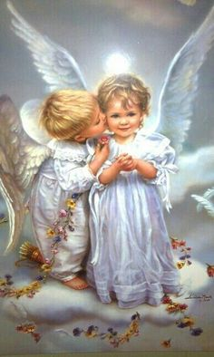 """"""" Thank you for the angel kiss. An angel kiss for your kindness 😇"""" Illustration Noel, I Believe In Angels, Angels Among Us, Angel Pictures, Angels In Heaven, Guardian Angels, Angel Art, Mother Mary, Christmas Angels"""