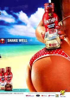 Everything in this ad […] [is] merely [a] prop meant to fulfill a heterosexual male fantasy. With this advertisement, Sythna-6 delivers a low blow to both men and women by making assumptions about male sexuality and marginalizing women in order to sell an ambiguous sports beverage. According to their calculations, it is a man's world, and a woman's worth is based on how well they accessorize it.