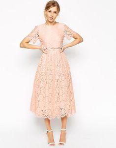 ASOS Petite   ASOS PETITE Lace Crop Top Midi Prom Dress