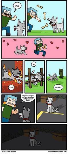 All 3 MInecraft comics from Awkward Zombie. (Not mine, all credit to Awkward Zombie. Minecraft Dogs, Minecraft Comics, Minecraft Funny, Minecraft Games, How To Play Minecraft, Minecraft Anime, Minecraft Stuff, Mine Minecraft, Awkward Zombie