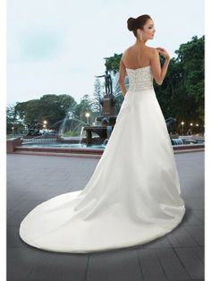 A-Line Strapless Neck Chapel Train Embroidery And Beads Bodice Satin Wedding Dresses