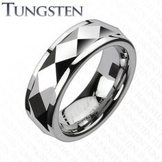Penny Auctions Canada | Tungsten Dia Faceted Edge Prism Spinner Ring BUY IT HERE!!