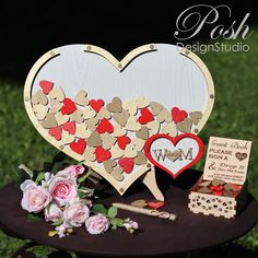 Enchanted Forest Party, Gold Wedding Decorations, Wedding Gifts For Couples, Wedding Gold, Wedding Guest Book Alternatives, Two Hearts, Wooden Hearts, Guestbook, Party Guests