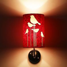 Craftter Abstract Birds Red And White Wall Lamp