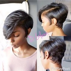 In love with this short cut by @iamdeangeloyglenn ✂️ Flawless❤️ #atlstylist #bangs #shorthair #voiceofhair