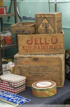 Get Organized The Old-Fashioned Way! - Running With Sisters Wood Crates, Wood Boxes, Vintage Country, Vintage Style, Vintage Kitchen Appliances, Vintage Tins, General Store, Vintage Recipes, Cubbies