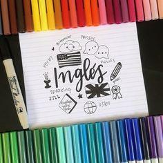 Notebook Art, Notebook Covers, School Suplies, Nouns And Verbs, Banner Letters, School Notebooks, Beautiful Notes, Bullet Journal School, Study Planner