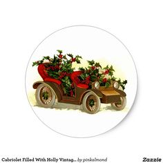 Cabriolet Filled With Holly Vintage Christmas