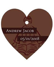 Brown Bar/Bat Mitzvah Design Heart Shaped Personalized Thank You Tags - Set of 20 #wedding #weddingfavor #favor #bridal #bridalshower #babyshower #shower #gift #sale http://www.bluerainbowdesign.com/WeddingFavorProduct.aspx?ProductID=PR071609174123JABCwSKelitoBRD21966