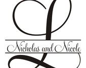 Monogram rubber stamp Initial with names through it for wedding decorations 2x2 --5622