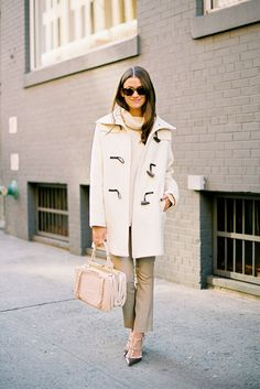 lovely sunnies, toggle coat, pants and heels