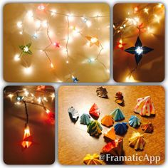 Light Decoration Idea!  1) Fold a paper iris 2) Cut off the tip of the stem 3) Slide on to the bulb on string lights.   Most of the time they stay, but you can also add a bit of tape or glue for a more secure hold for outdoor decoration or long term display!  You can also open up the little cut tips to make a pretty confetti! It is great for sprinkling on a table center piece at parties or filling up glass jars for a colorful pop!  #DIY #LightDecorations #Origami