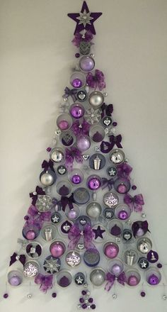In order to have the perfect Christmas, do you consider decorating the wall? Check out these Amazing and within budget DIY Christmas wall tree decoration ideas… Wall Christmas Tree, Unique Christmas Trees, Alternative Christmas Tree, Purple Christmas, Christmas Door Decorations, Office Christmas, Easy Christmas Crafts, Noel Christmas, Christmas Projects