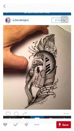 Feather tattoo on the topic of music - tattoo - feather tattoo about music – the - Music Tattoo Designs, Music Tattoos, Tattoo Sleeve Designs, Body Art Tattoos, New Tattoos, Love Music Tattoo, Tatoos, Faith Tattoos, Design Tattoos