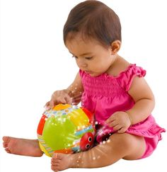 The Yookidoo Lights N Music Fun Ball is a motion activated toy that encourages babies to roll the ball and crawl after it. Rolling or shaking the soft ball activates lights and fun music and sounds - teaching cause and effect. Light in weight and easy to grasp - perfect for small hands. Age 3 months and up. #Yookidoo #CamelotKids #PlayBall