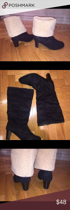 """Black Tall Soft Fluffy Boots size 40 Black Tall Soft Warm Fluffy Boots in size 40. Great condition. Round tie. About 2.5"""" block heel. Shaft height from the heel about 15"""" and circumference about 17"""". Bundle and save 😊 Sofia Shoes Heeled Boots"""