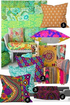 Aimee's Blog: Textiles & Other Ramblings: Boho Brights #colourful #moroccan #bohemian #pillows #inspiration #homeaccessories