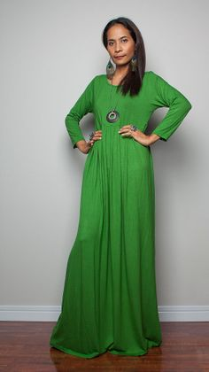 fa4a3751de Green Maxi Dress with 3 4 Sleeves Autumn Thrills by Nuichan
