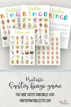 Printable easter bingo games for kids with 8 different cards, 30 calling pictures, and markers. Featuring original illustrations. #printableeasterbingo #easterbingogame #easterbingogameforkids #instanteasterbingo #easteractivityforkids #easterpartygame #easteractivity #gameforeaster #printableeastergame #instanteastergame #easterentertainment #eastergameidea #familyfuneaster #easterprintable Easter Bingo, Easter Party Games, Easter Games For Kids, Valentine Bingo, Kids Party Games, Easter Activities, Activities For Kids, Bingo Games For Kids, Printable Bingo Games
