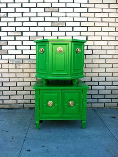 Green side table or two! ooh like the half-ish hexagon! Love it