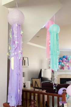 Narwhal Birthday Party – two purple couches DIY Jellyfish birthday party decorations Streamer Decorations, Birthday Party Decorations Diy, 1st Birthday Parties, Birthday Ideas, Decorating With Streamers, Paris Birthday, Spa Birthday, Rainbow Birthday, 11th Birthday