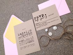 Cursive Typewriter Kraft Wedding Invitation SAMPLE - Studio Set - Pink via Etsy