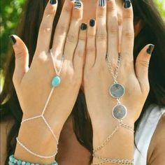 { New } Silver tone turquoise stone hand chain Brand new boho silver tone with turquoise stone hand chain. Eye catching, perfect arm candy. Light weight, Bundle & Save 25% ❌TRADES ❌ Jewelry Bracelets