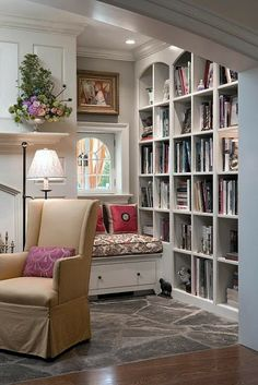 I like how the nook isn't the focus, it's just a secret hideaway in the background. Maybe do this next to our den fireplace?