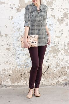 French Girl Style, Purple Pants, Lace Up Flats, Fashion Pics, Leather Pieces, Gap Jeans, Mixing Prints, Ethical Fashion, Maternity Fashion