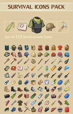 Buy Survival Icons Pack by REXARD on GraphicRiver. A set of 115 survival Icons. All Icons have transparent background so you can place it on any surface you need. Game Design, Icon Design, Game Concept Art, Weapon Concept Art, Arte Zombie, Zombie Apocalypse Survival, Pixel Art Games, Game Props, Game Icon