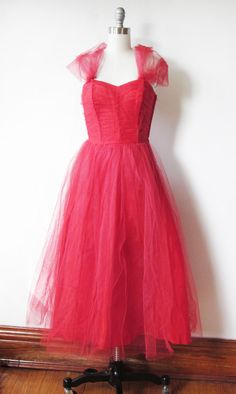 SALE 1950s prom dress / vintage 50s red tulle dress / 1950s holiday party dress / off beat bride wedding dress. $125.80, via Etsy.