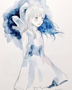 "kaarii0119: "" こころ . #art #artwork #drawing #illustration #watercolor #girl #blue #イラスト #水彩 #女の子 #青 """