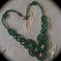 Tatted Lace Necklace - Trailing Scrolls - Forest Green and Copper. $48.00, via Etsy.