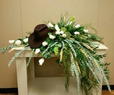 Boots hat my stirrups flower arrangement my metal table
