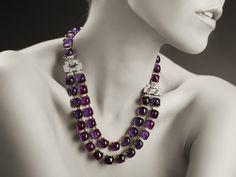 Luxury Necklace with aquamarine cabochon, enamel, diamonds and chalcedony MOON