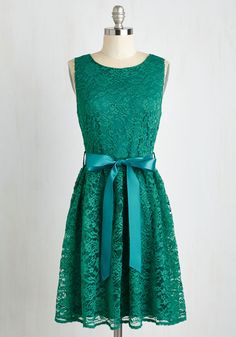 Lovely as Lychee Dress in Emerald - Green, Solid, Lace, Belted, Wedding, Party, Bridesmaid, A-line, Sleeveless, Lace, Good, Scoop, Mid-length, Variation, Prom, Homecoming, Daytime Party