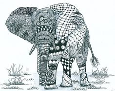 This Zentangle is incredible. Lots of patterns but all in harmony within the elephant. By: louvebleue