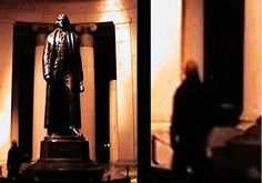 JEFFERSON MONUMENT SHADOW PERSON! Taken in 1997 in Washington DC. Early one morning (maybe around 3 or 4) we decided to walk around the monuments. When I first saw the photo, I thought that the figure was the statue's shadow wrapped around one of the monument's columns. This obviously is not the case because the shadow is in front of the column. When I zoomed closer we noticed that the shadow was not only in front of the column, but it seems to be standing in front of the chain-fence!