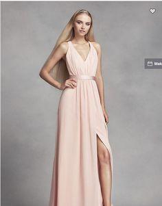 8077b5da164 Davids Bridal White By Vera Wang Long Chiffon Dress Low Crisscross Back Size  6