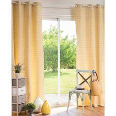 Rideau à œillets en coton motifs jaunes 140x250cm ADGE