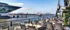 Restaurant mit Sommerterrasse direkt an der Elbe mit Mittelmeer Flair Au Quai