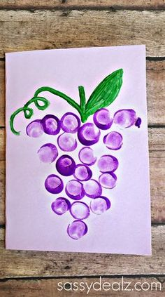 """Love You Bunches"" Kids Thumbprint Grapes Card - Crafty Morning - ""Love You Bunches"" Kids Thumbprint Grapes Card – Sassy Dealz Spring Crafts For Kids, Crafts For Kids To Make, Summer Crafts, Projects For Kids, Art For Kids, Art Projects, Fruit Crafts, Watermelon Crafts, Diy Note Cards"