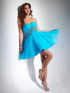 Turquoise A-Line Strapless and Sweetheart Short/Mini Homecoming Dresses With Embellished Trim
