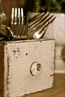 Sewing machine drawer for silverware.   use outside bathroom, with baby powder, perfume, deoderant, q tips etc and another in kitchen pantry to hold rice a roni and small boxes of food