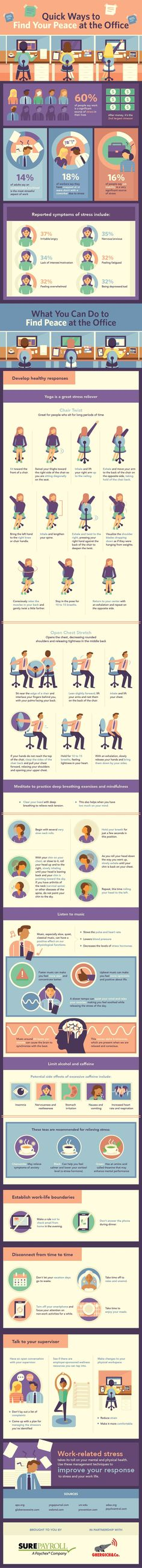 Quick Ways to Find Your Peace at the Office #Infographic #Stress #Workplace