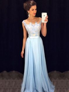 Affordable Scoop Neck Blue Chiffon Tulle Appliques Lace Floor-length Prom Dresses #DGD020101989