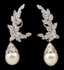 Sterle' Platinum Diamond and Southsea Pearl  earring.