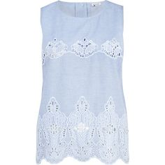 blue chambray lace top / river island